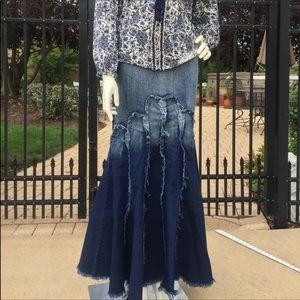 Dresses & Skirts - Blue denim ombre mermaid fishtail long maxi skirt